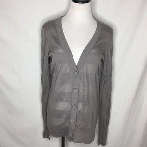 Ann Taylor Loft Gray Button Front Cotton Cardigan